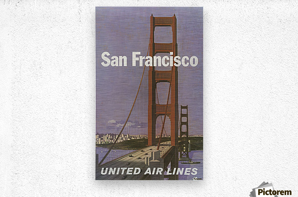 United Airlines Poster for San Francisco  Metal print