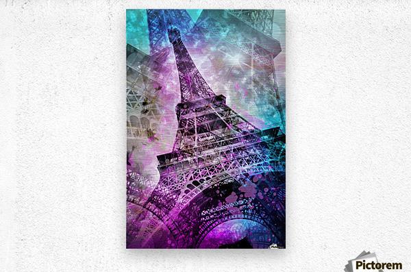 Pop Art Eiffel Tower  Impression metal