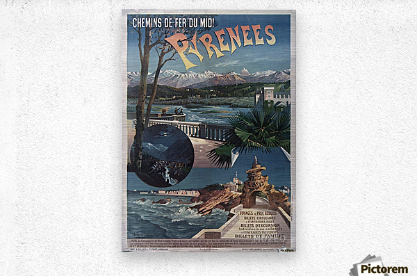 Chemins de fer du midi Pyrenees vintage poster  Metal print