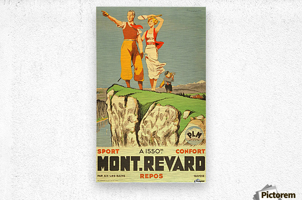 Original vintage poster from 1930 for Mont Revard in Savoie, France  Metal print