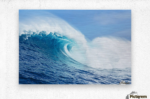 A large ocean wave breaks at the big wave spot know as Jaws or Peahi; Maui, Hawaii, United States of America  Metal print