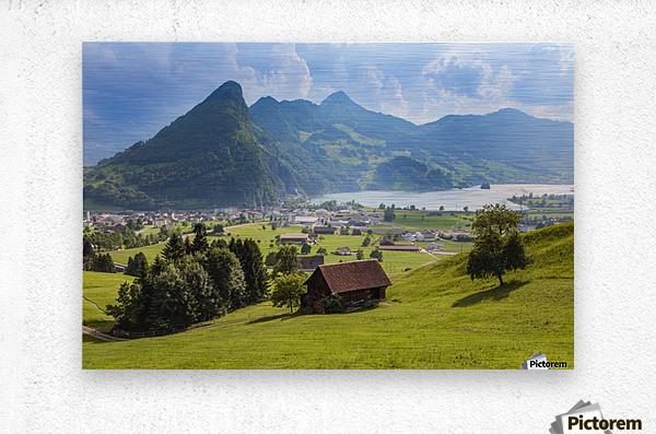 Seewen, a village on Lake Lauerz; Schwyz Canton, Switzerland  Metal print
