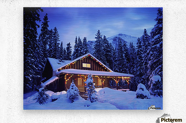 Cabin in the woods illuminated by Christmas lights  Metal print