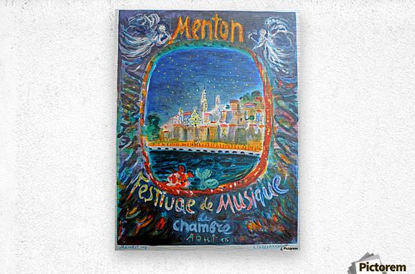 Menton Festival de Musique original advertising poster  Metal print