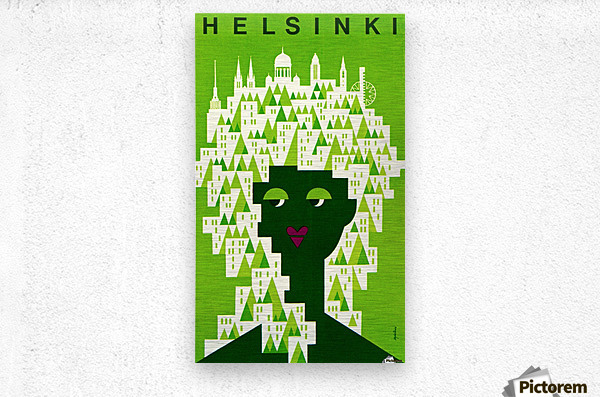 Helsinki Tourist Office Poster  Metal print