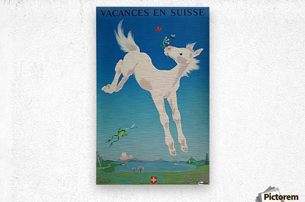 Original vintage poster Vacances en Suisse  Metal print