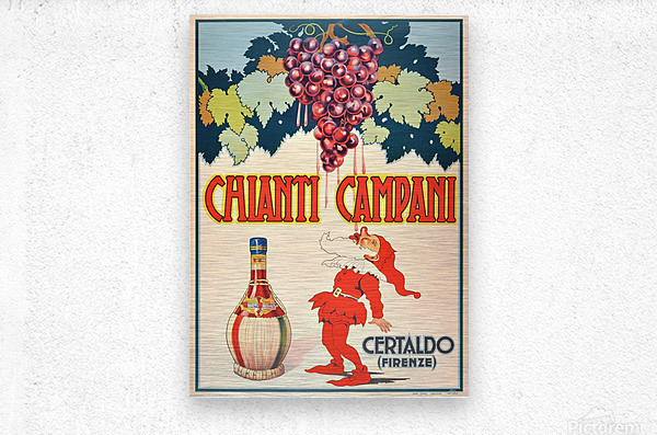 Original Vintage 1940 Advertising Poster For Chianti Campani  Metal print