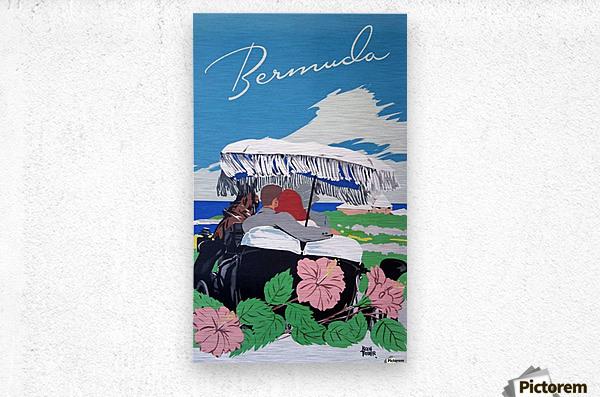 Bermuda Beach vintage travel poster  Metal print