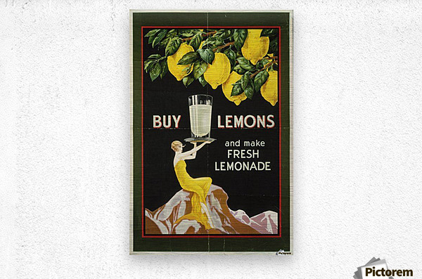 Buy lemons and make lemonade vintage poster  Metal print