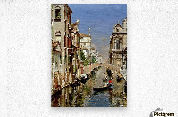 A Venetian Canal with the Scuola Grande di San Marco and Campo San Giovanni e Paolo  Impression metal