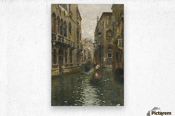 A family outing on a Venetian canal  Metal print