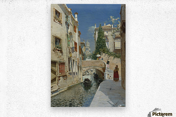 Venetian canal with the campanile of the Frari in the distance  Metal print