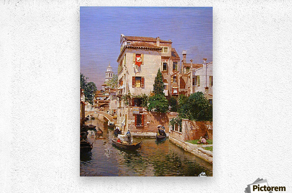 Gondoliers On A Venetian Canal  Metal print