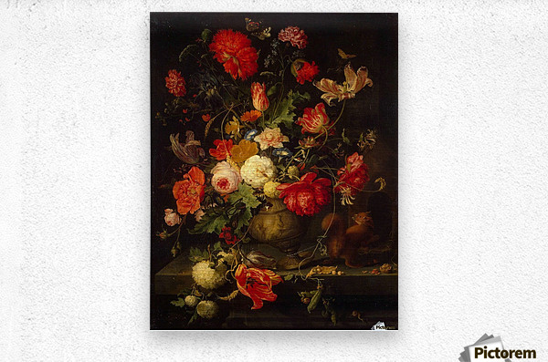 Flowers and small animals  Metal print