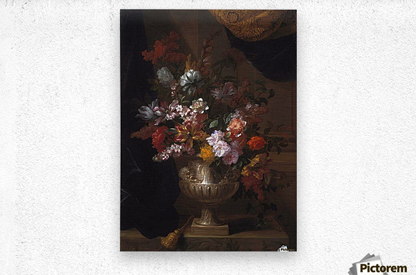 Flowers in a sculpted urns on a ledges  Metal print