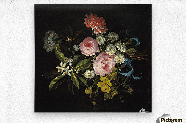 Bouquet of Chamomile, French roses and other flowers  Metal print