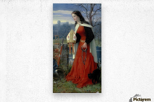 Allegorical Maiden in red dress  Metal print