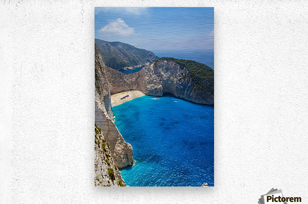 Navagio beach with shipwreck and flowers on Zakynthos island in Greece  Metal print