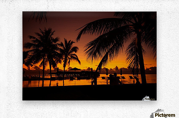 Palm trees silhouette on sunset tropical beach  Metal print