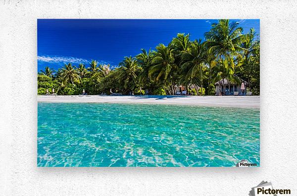 Amazing beach in Maldives, summer travel  Metal print
