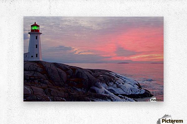 Peggys Cove Winter Sunset  Metal print