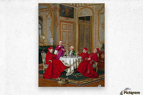 A couple of cardinals in the living room  Metal print