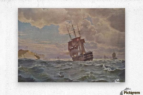 Ship along the line off the coast, 1875  Metal print