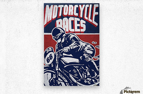 Motorcycle Racing Vintage Poster  Metal print