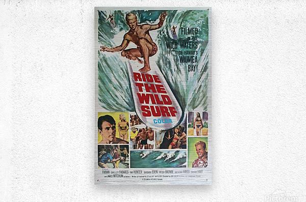 Original Vintage Surfing Movie Poster - Ride The Wild Surf  Metal print