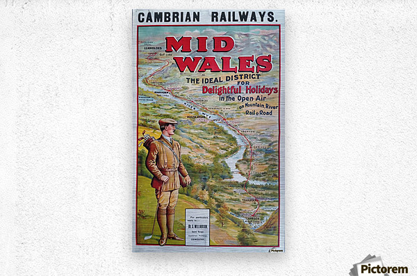 Original vintage poster golf Cambrian railways Mid Wales river  Metal print