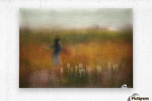 A Girl and Bear grass  Metal print