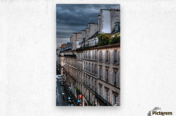 autumn rain paris france tom prendergast  Metal print