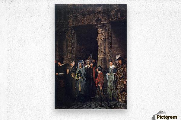 Leaving a church in the 15th Century by Alma-Tadema  Metal print