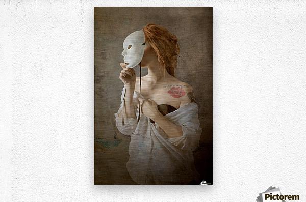 seeing through the mask  Metal print
