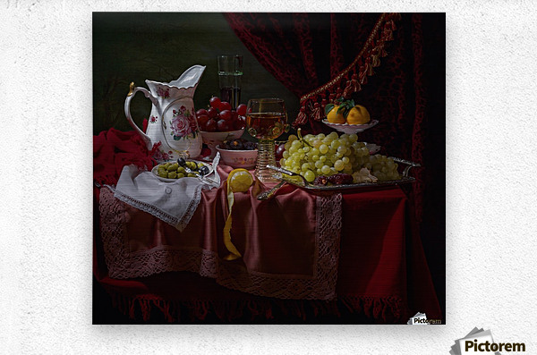 Still life in the Dutch style with a jug  Metal print