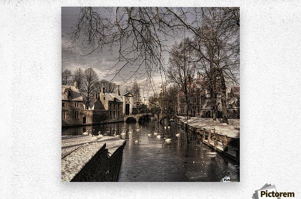 Bruges in Christmas dress  Metal print