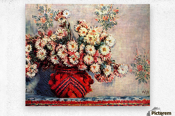 still life chrysanthemums  Metal print