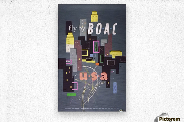 Original 1954 BOAC USA Travel Poster  Metal print