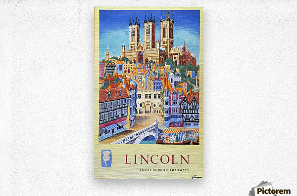 Lincoln vintage travel poster for British Railways  Metal print