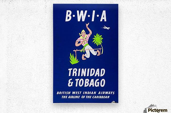 BWIA Trinidad Tobago original travel poster  Metal print