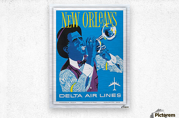 Delta Air Lines New Orleans USA Vintage Travel Poster  Metal print