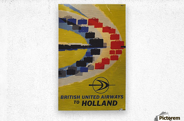 British United Airlines to Holland travel poster  Metal print