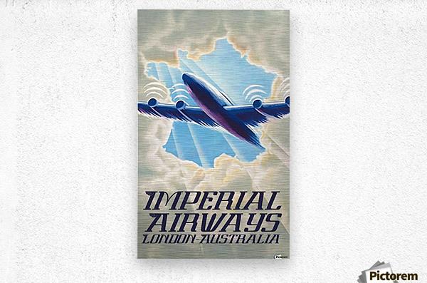 Imperial Airways London - Australia vintage travel poster  Metal print