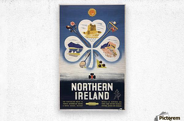 Vintage BR Irish Shamrock Travel poster  Metal print