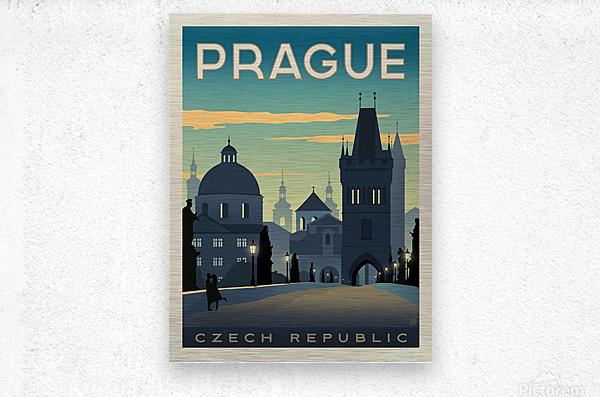 Prague vintage travel poster  Metal print