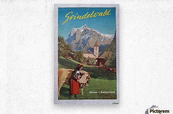 1960 Grindelwald Switzerland original vintage poster  Metal print