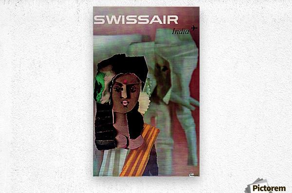 Swiss Air India Travel Art Poster  Metal print