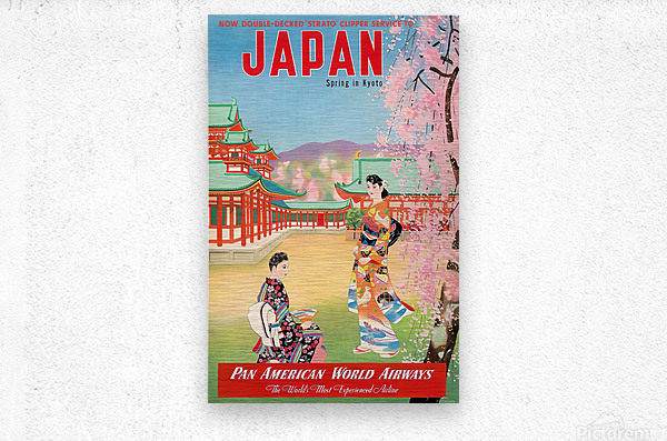 Pan American World Airways Japan Spring in Kyoto  Metal print