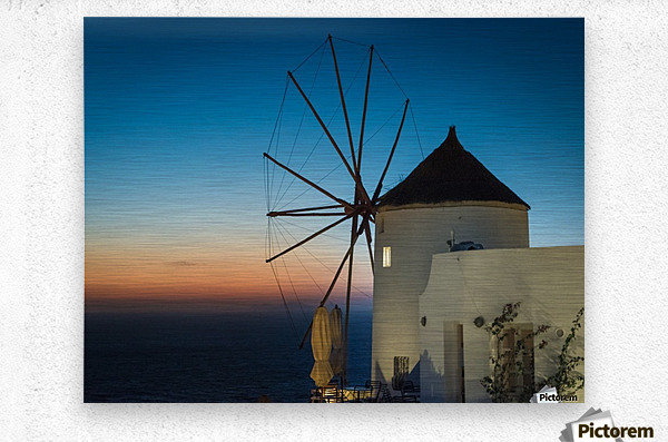 Mills Oia Night  Metal print