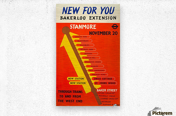 Poster Promoting the Bakerloo Line Extension to Stanmore, 1939  Metal print